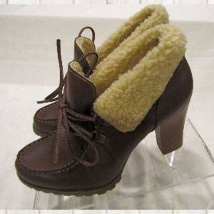 RUFF HEWN Willow Brown Fleece Ankle Boot Shoe